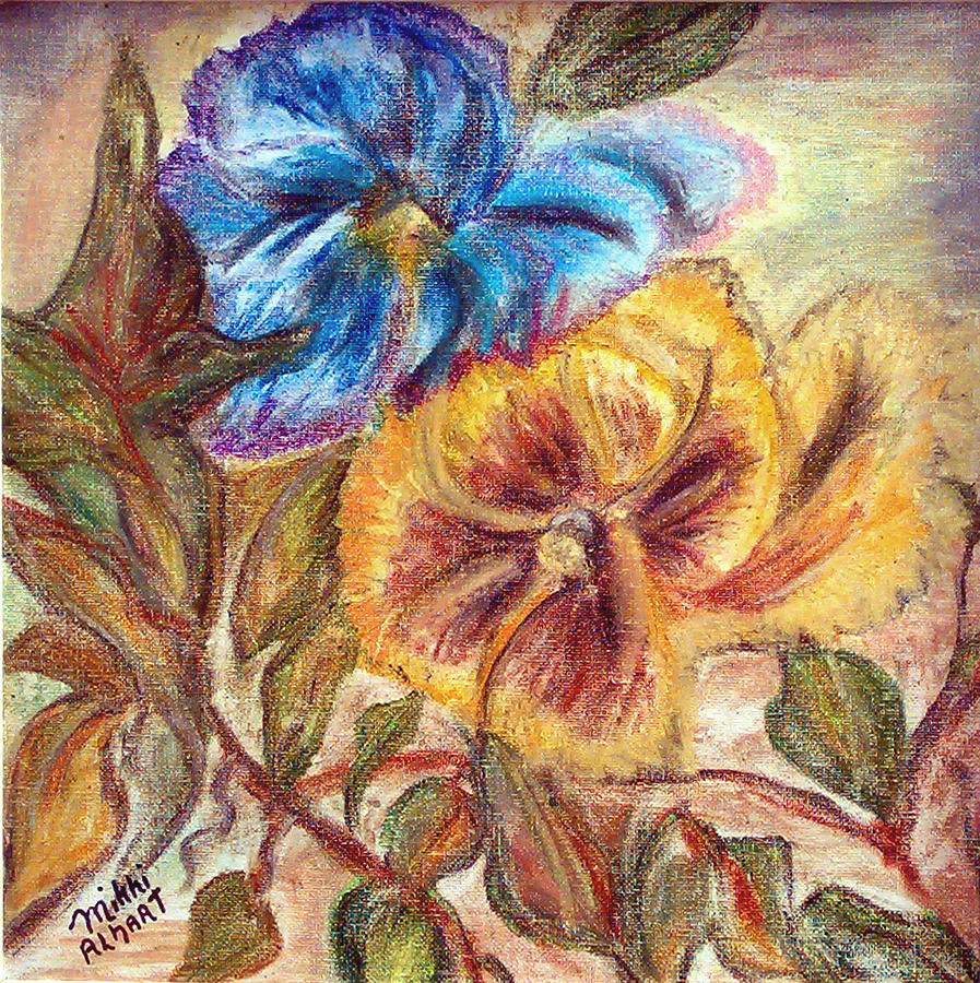Pansy Painting - Pastel Pansy by Mikki Alhart