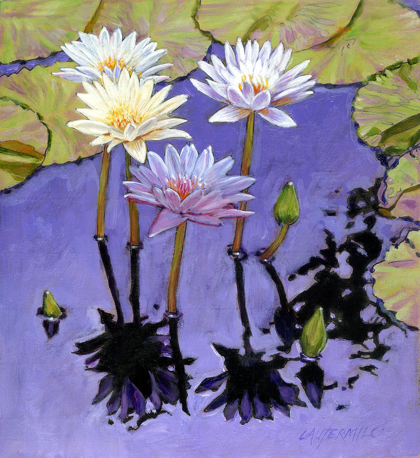 Water Lilies Painting - Pastel Petals by John Lautermilch