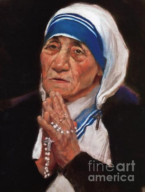 Mother Teresa Of Calcutta Drawing - Pastel Rendering Of Mother Teresa Of Calcutta by Mark Sanislo