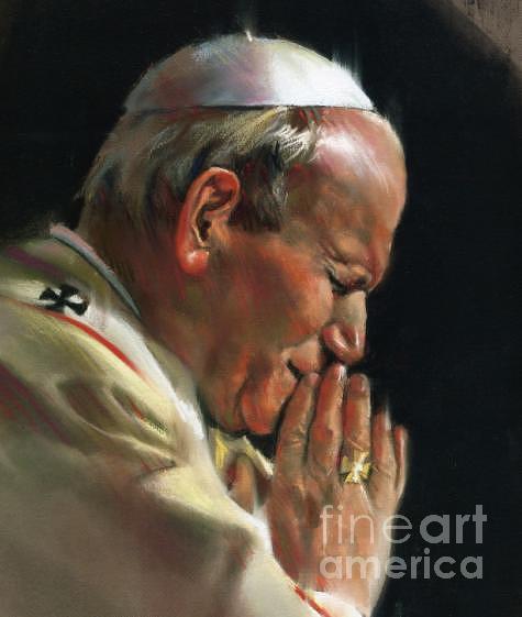 Pope John Paul Drawing - Pastel Rendering Of Pope John Paul II by Mark Sanislo