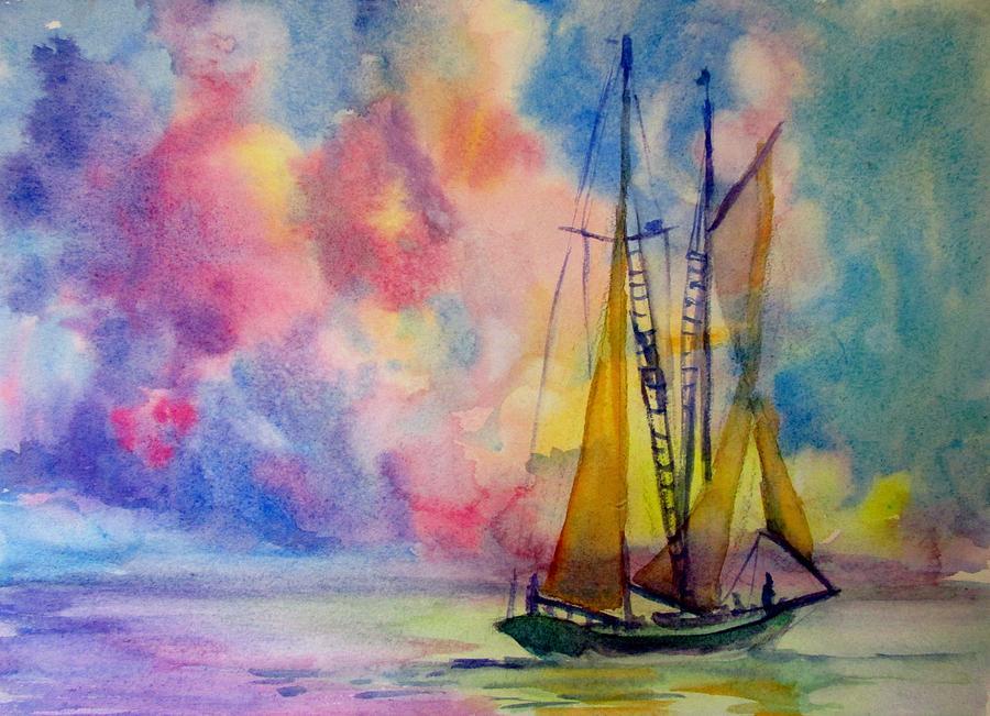 Sailboat Painting - Pastel Sail by Linda Emerson