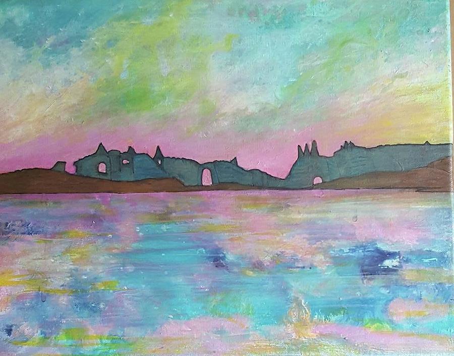 Pastel Sunrise Painting by Cynthia Silverman