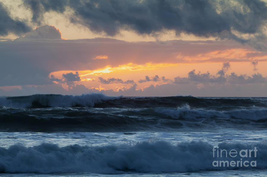Sunset Photograph - Pastel Sunset Over Stormy Waves by Sharon Foelz