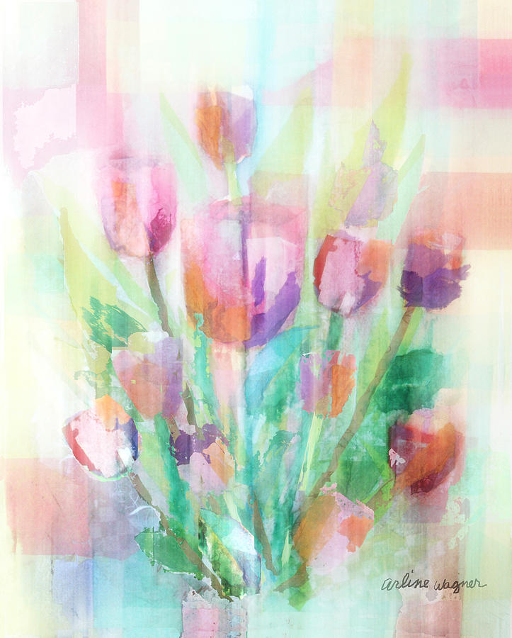 Tulip Painting - Pastel Tulips Collage by Arline Wagner