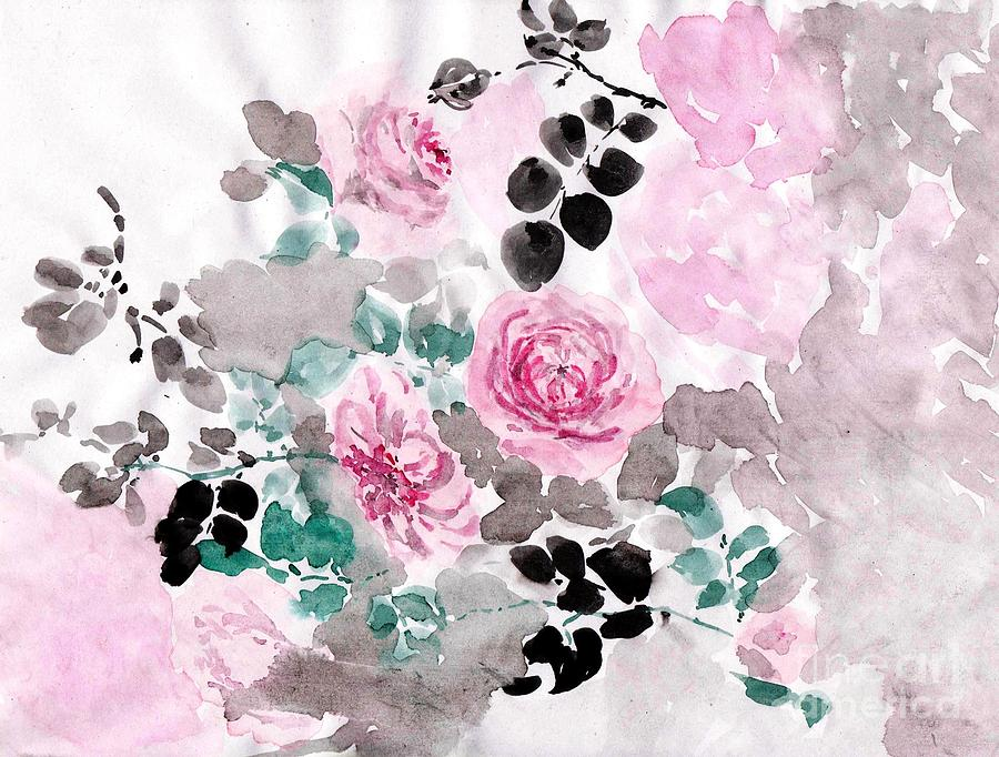 Pink Roses Painting - Pastel Water-healing Roses -24 by Sweeping Girl