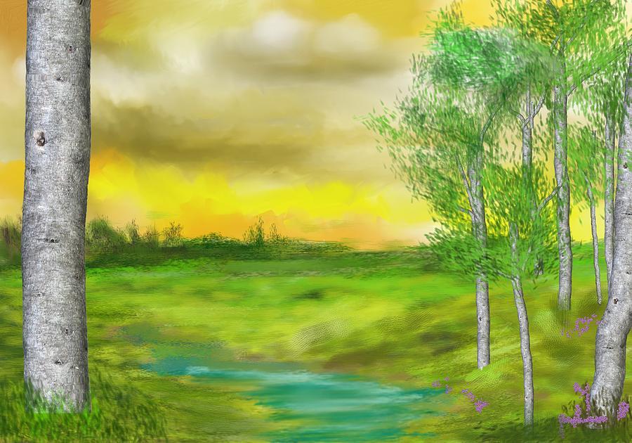 Landscape Digital Art - Pastoral by David Lane