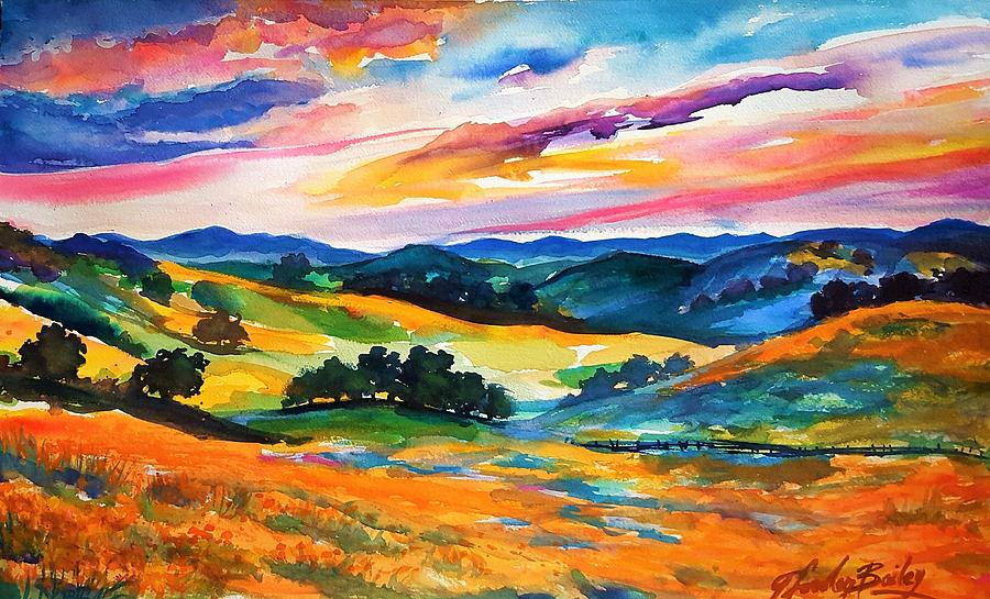 Exeter Painting - Pastoral Poppies On Yokohl Valley by Therese Fowler-Bailey