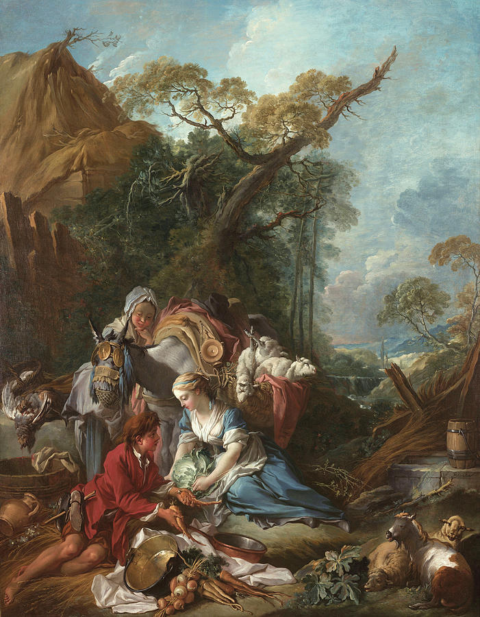 Trade Painting - Pastorale The Vegetable Vendor by Francois Boucher