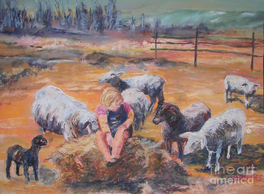 Farmstead Pastel - Pasture Acquaintances by Alicia Drakiotes