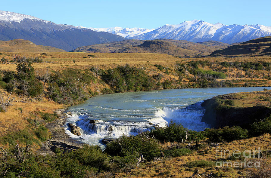 Waterfall Photograph - Patagonia Landscape Of Torres Del Paine National Park In Chile by Louise Heusinkveld