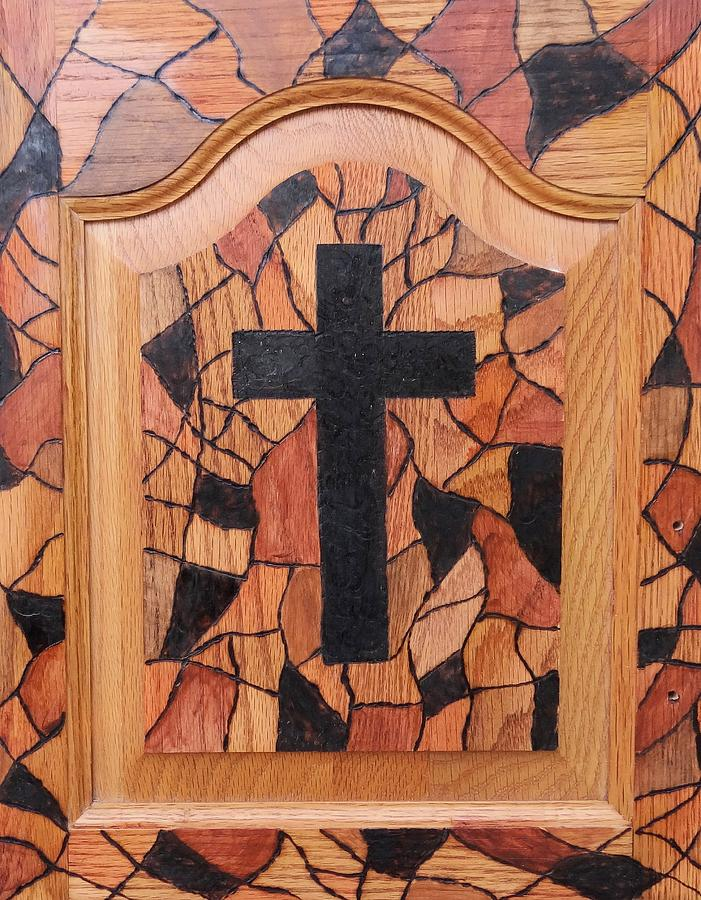 Pyrography Pyrography - Patchwork And Cross by Lisa Brandel