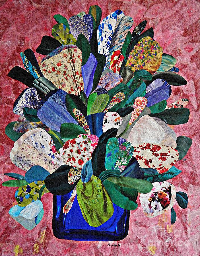 Collage Mixed Media - Patchwork Bouquet by Sarah Loft