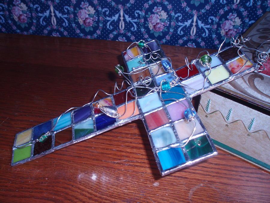 Stained Glass Glass Art - Patchwork Cross by Liz Lowder
