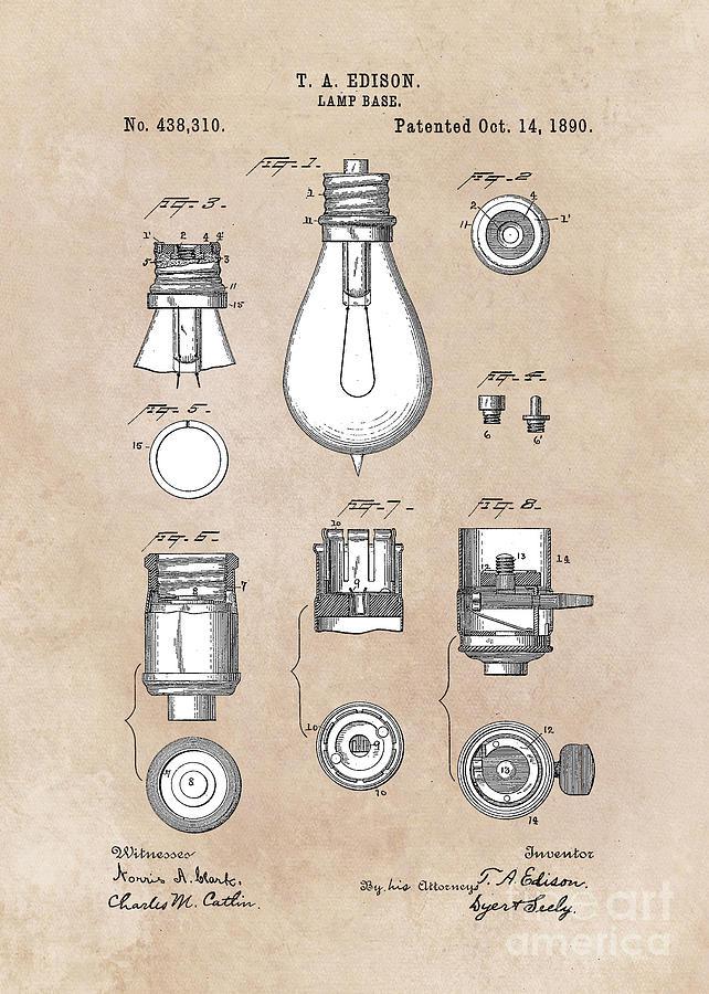Edison Digital Art - patent art Edison 1890 Lamp base by Justyna JBJart