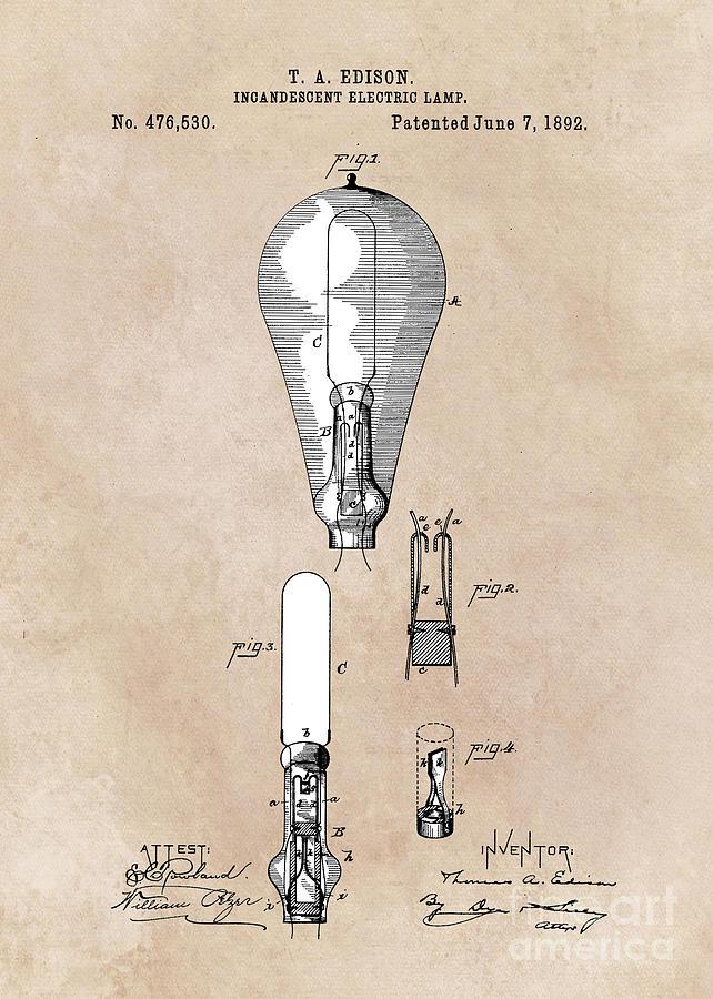 Electric Lamp Digital Art - patent art Edison 1892 Incandescent electric lamp by Justyna JBJart