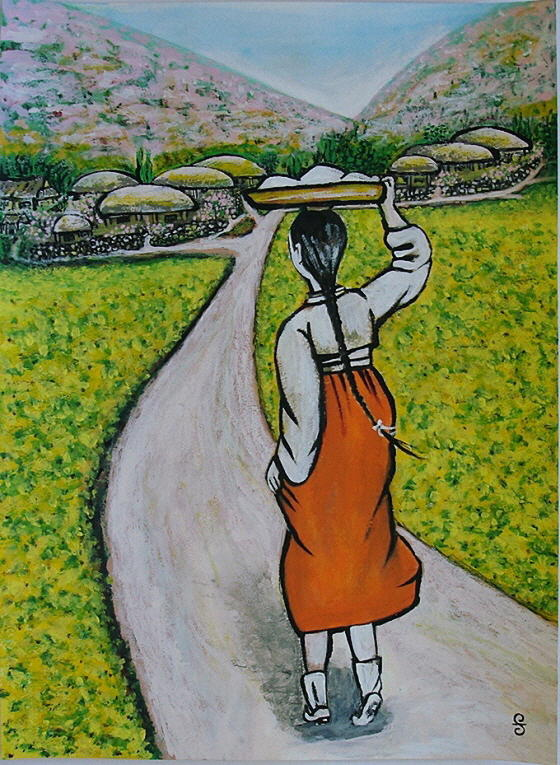 Girl Painting - Path Home by Silvia Gold
