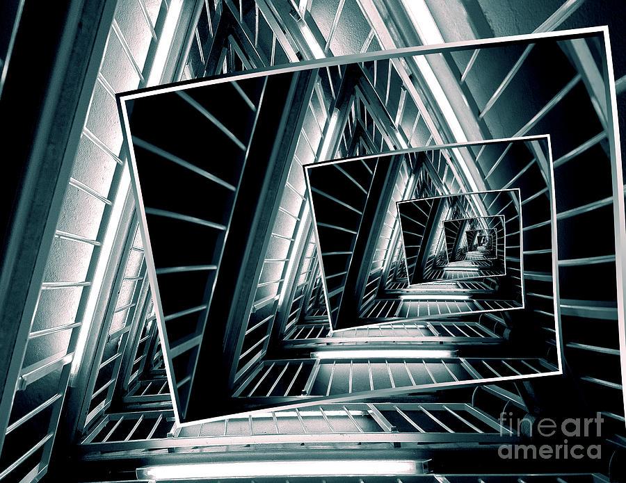 Droste Effect Digital Art - Path Of Winding Rails by Phil Perkins
