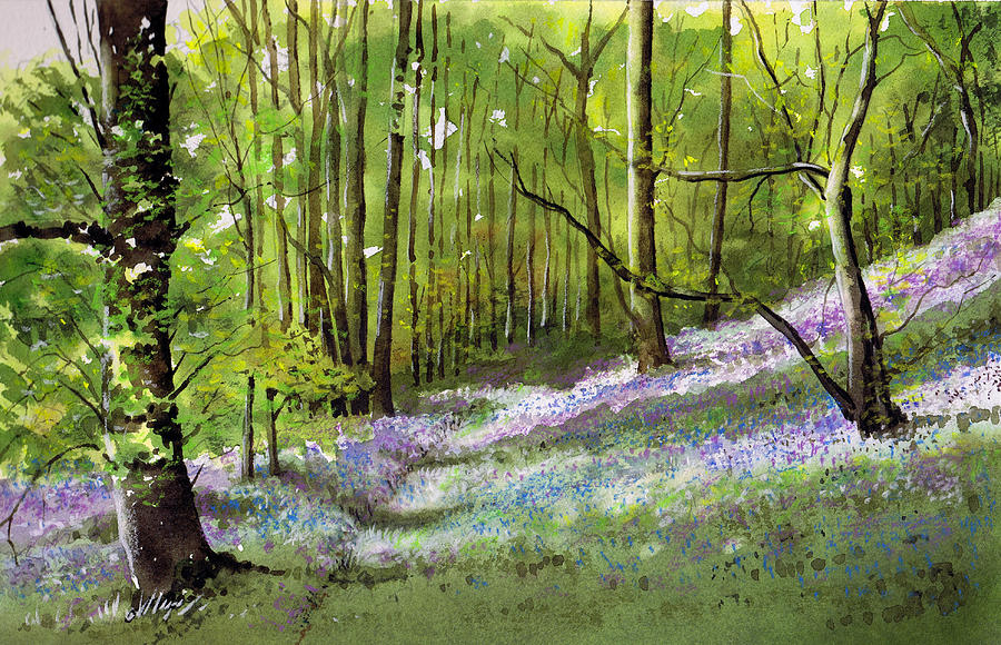 Bluebell Painting - Path Through Bluebell Wood by Paul Dene Marlor