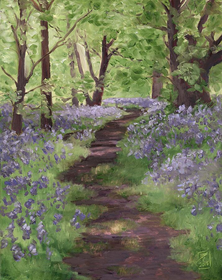 Landscape Painting - Path Through The Bluebells by Brandy Woods
