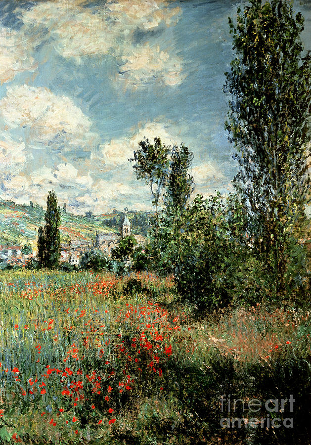 Path Painting - Path through the Poppies by Claude Monet