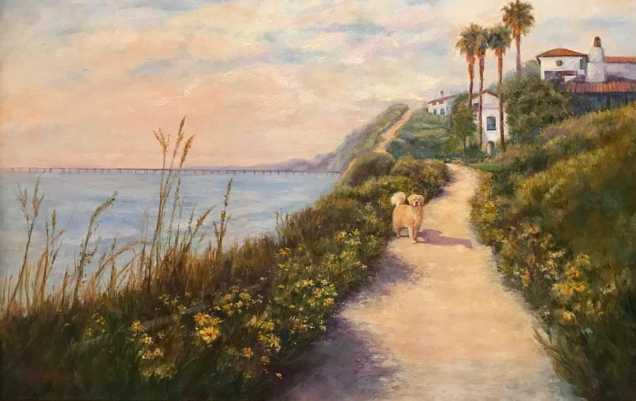 Landscape Painting - Path To Bacara , With Golden  by Carolyn Paterson