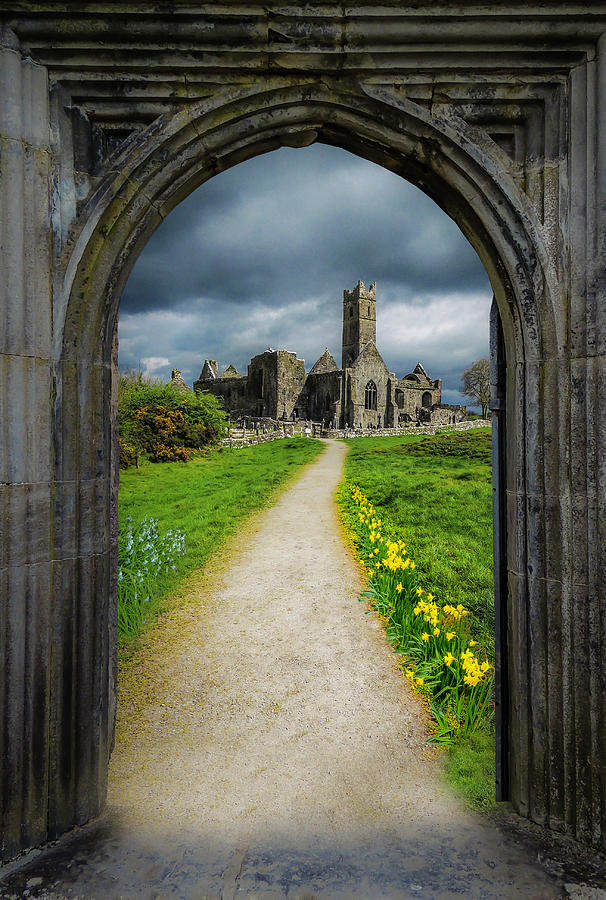 12th Century Photograph - Path To Irelands Quin Abbey, County Clare by James Truett