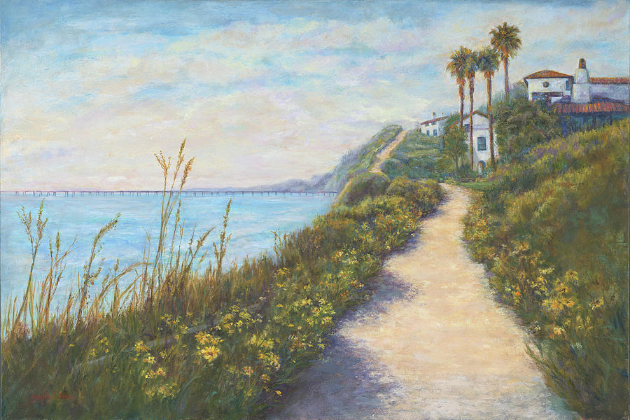Landscape Painting - Path To Ritz Bacara  by Carolyn Paterson