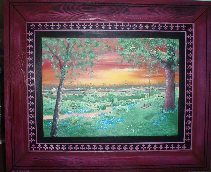 Folk Painting - Path To The Pedernales River With Painted Frame by Susan Michutka
