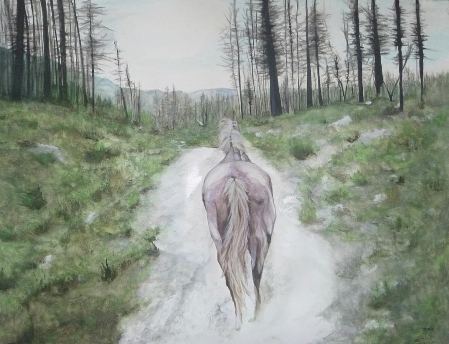 White Horse Painting - Path To Your Dreams by Carrie Diaz