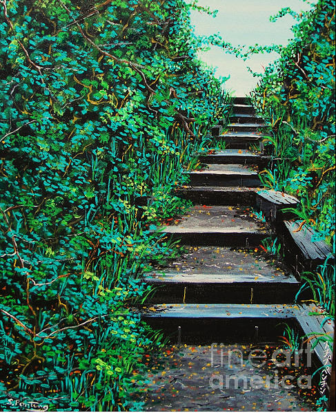 Landscapes Painting - Pathway To Puget Sound 2 by Stephen Ponting
