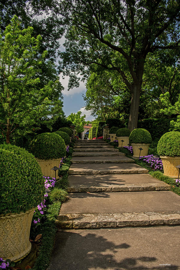 Dallas Photograph - Pathway Up To De Golyer House by Allen Sheffield