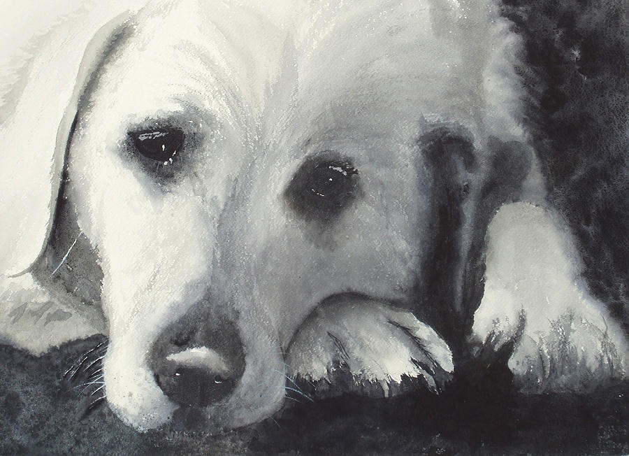 Sad Eyes Painting - Patience by Ally Benbrook