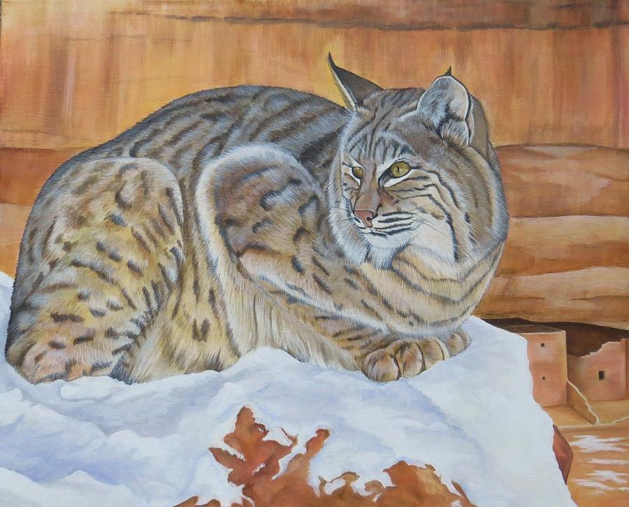 Bobcat Painting - Patience by Lucy Deane