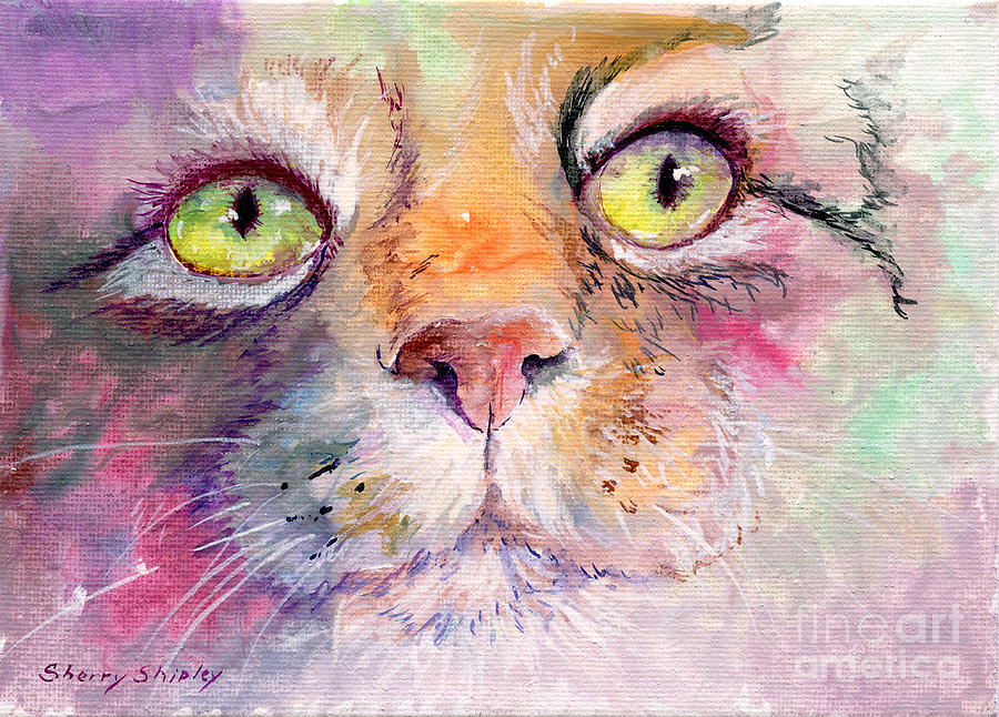 Cat Painting - Patience by Sherry Shipley