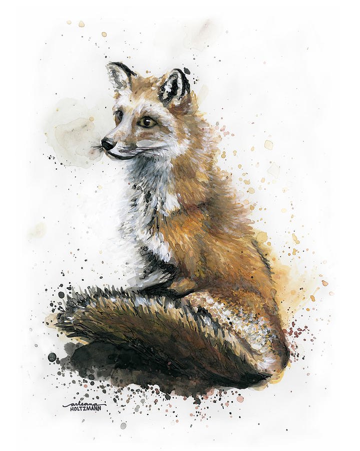 Fox Painting - Patiently Waiting by Arleana Holtzmann