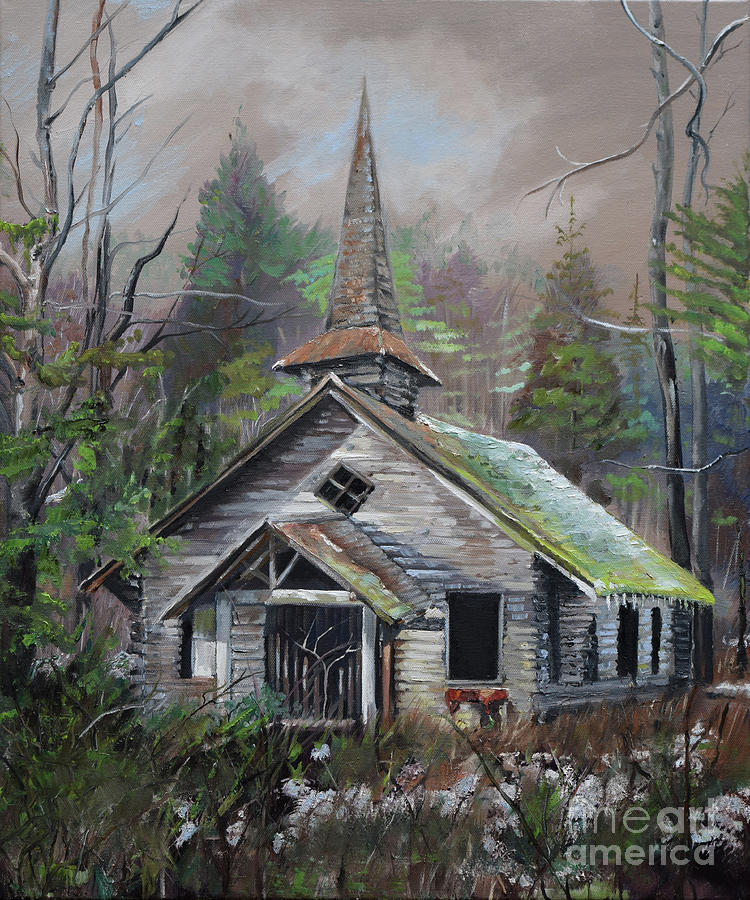 Church Painting - Patiently Waiting - Church Abandoned by Jan Dappen