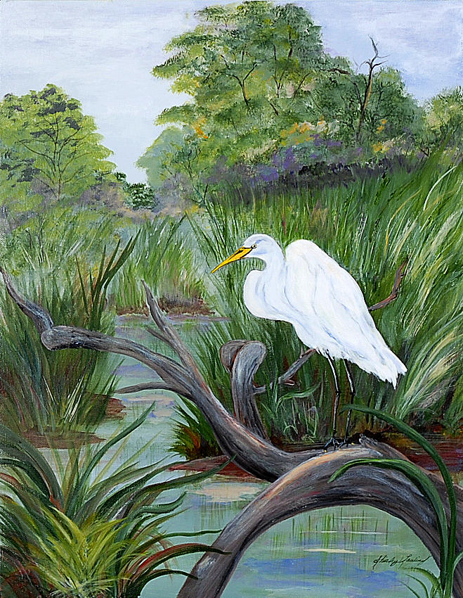 Wetlands Painting - Patiently Waiting by Shirley Lawing