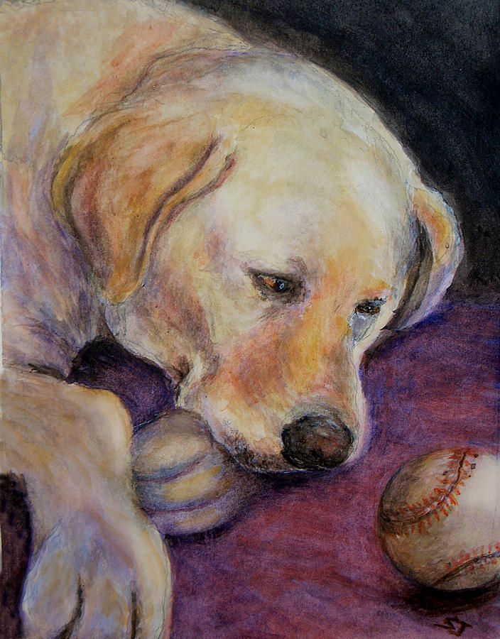 Lab Painting - Patiently Waiting by Susan Jenkins