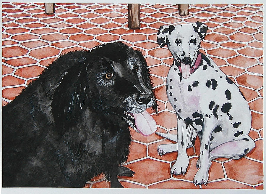 Lab Painting - Patio Dogs by Laura Brightwood