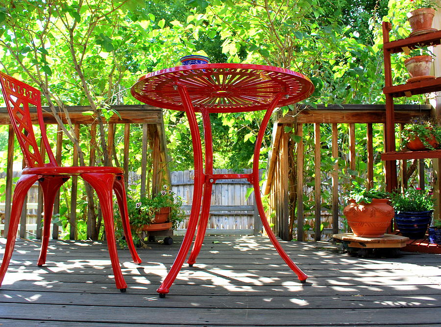 Red Photograph   Patio Furniture Abstract. By Oscar Williams