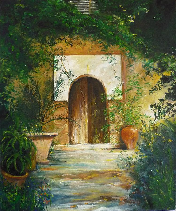 Mallorca Painting - Patio Mallorquin by Lizzy Forrester
