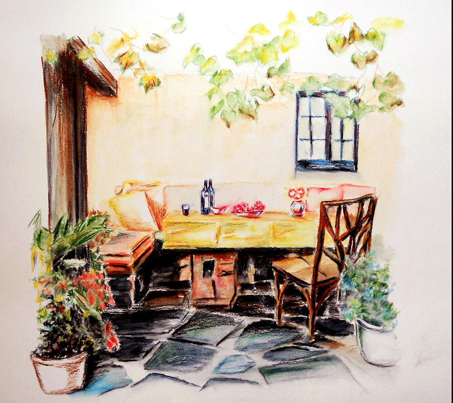 Spain Painting - Patio set for Tapas by Steve James