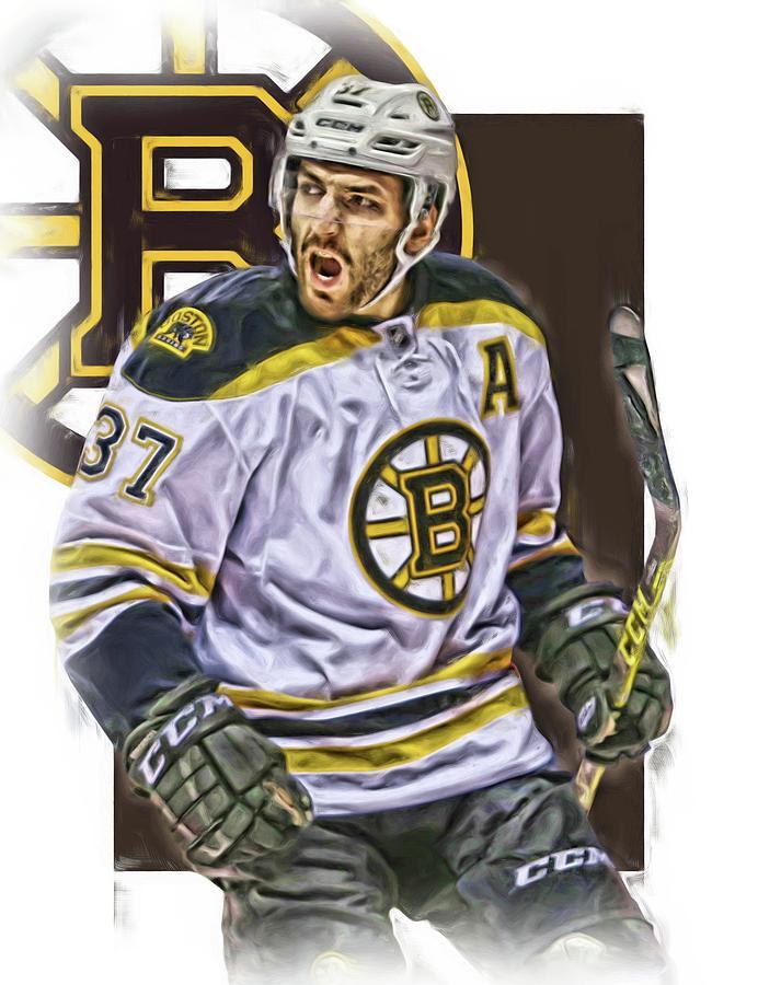 Patrice Bergeron Mixed Media - Patrice Bergeron Boston Bruins Oil Art 1 by Joe Hamilton