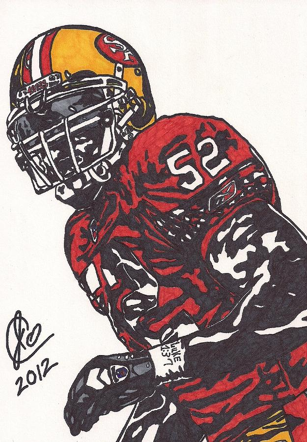 Football Drawing - Patrick Willis by Jeremiah Colley
