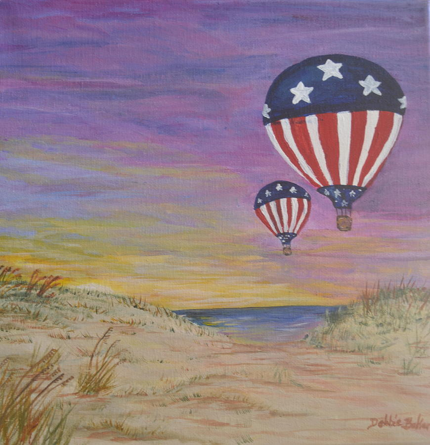 Balloon Painting - Patriotic Balloons by Debbie Baker
