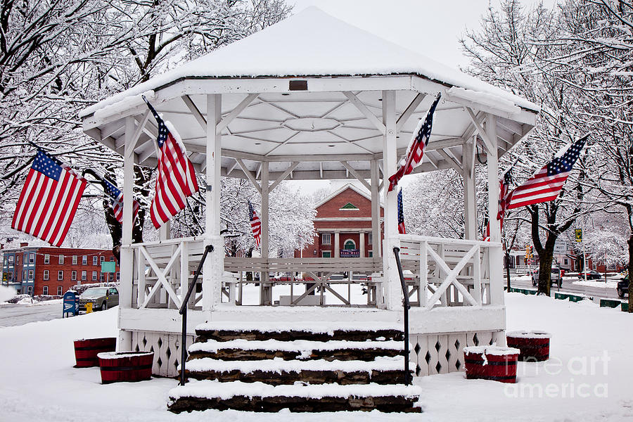 American Flag Photograph - Patriotic Bandstand by Susan Cole Kelly