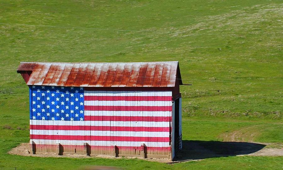 Barn Photograph - Patriotic Barn by Kerry Reed