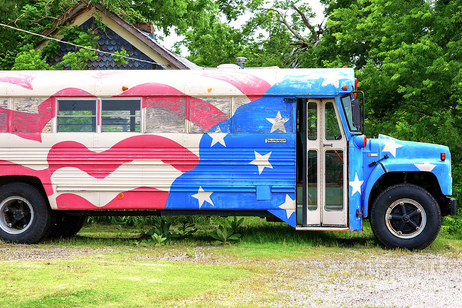 Bus Photograph - Patriotic Bus Route 66 by John Rizzuto
