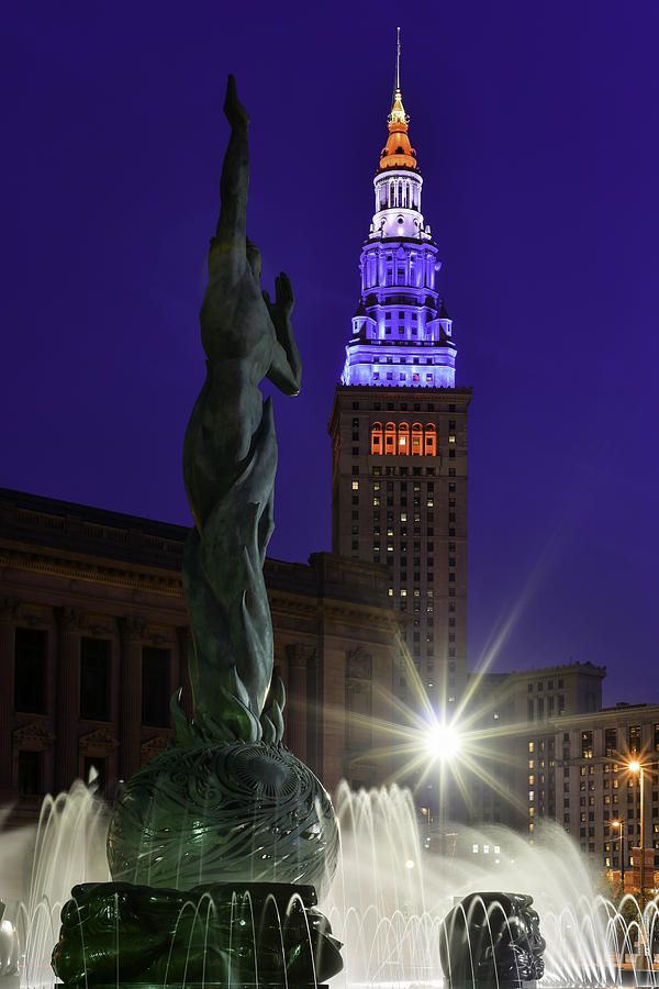 Patriotic Cleveland Fountain  by Clint Buhler