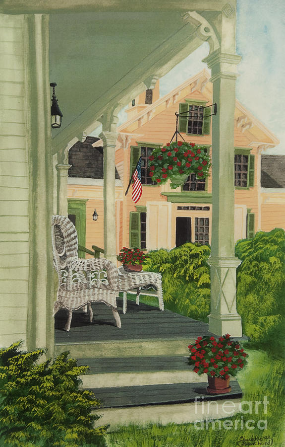 Side Porch Painting - Patriotic Country Porch by Charlotte Blanchard